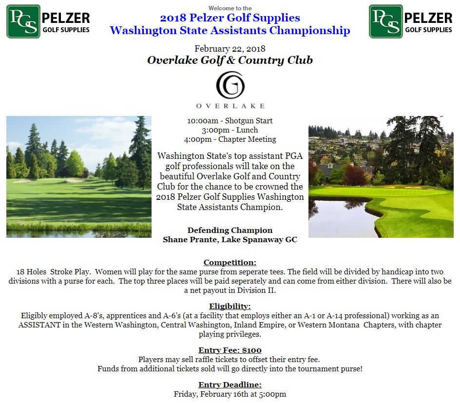 2018 Pelzer Golf Supplies Washington State Assistants Championship @ Overlake G&CC | Medina | Washington | United States